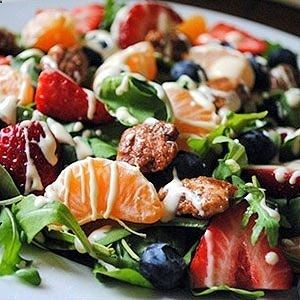 Tropical Salad with Citrus Vinaigrette:       1 1/2 cups arugula; 1 cup fresh spinach; 1 clementine or tangerine, peeled; 5 strawberries, sliced with stems removed;  1/4 cup fresh blueberries; 8 praline pecans     citrus vinaigrette: blend 2 ounces goat cheese, 1 tbsp honey, Juice of one Clementine(2tbsp);  1/2 tsp apple cider vinegar; 1 tbsp olive oil