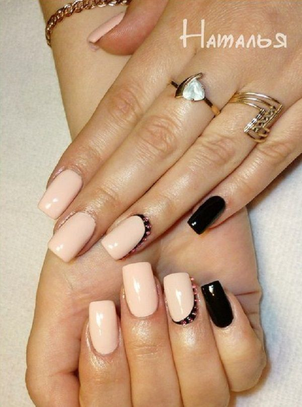 Simplicity can also stand out this summer. Why not coat your nails in black and cream colors and make it look purely elegant. You can then add colorful beads on top to highlight the design.