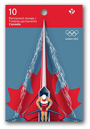 Canada's Olympic rowing team is celebrated in this stamp illustrated by Kwantlen GDMA faculty member Keith Martin.