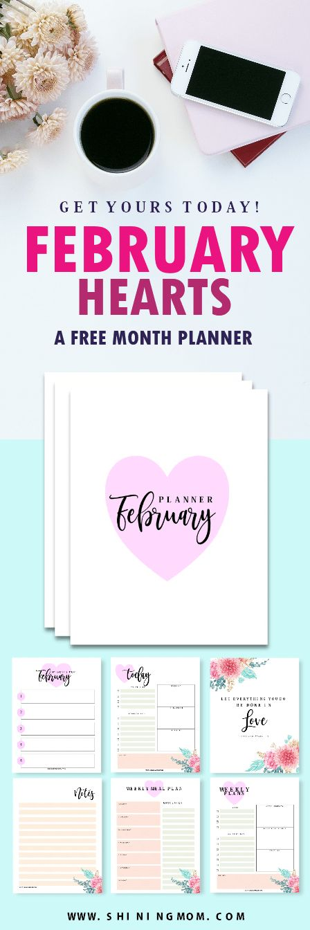 Print your FREE February planner today and organize a productive month! #February #planner