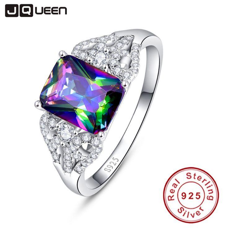 Hot Smaragdschliff 3ct Natural Mystic Feuer Regenbogen Topaz Engagement Ehering Echter 925 Sterling Silber Ringe für Frauen