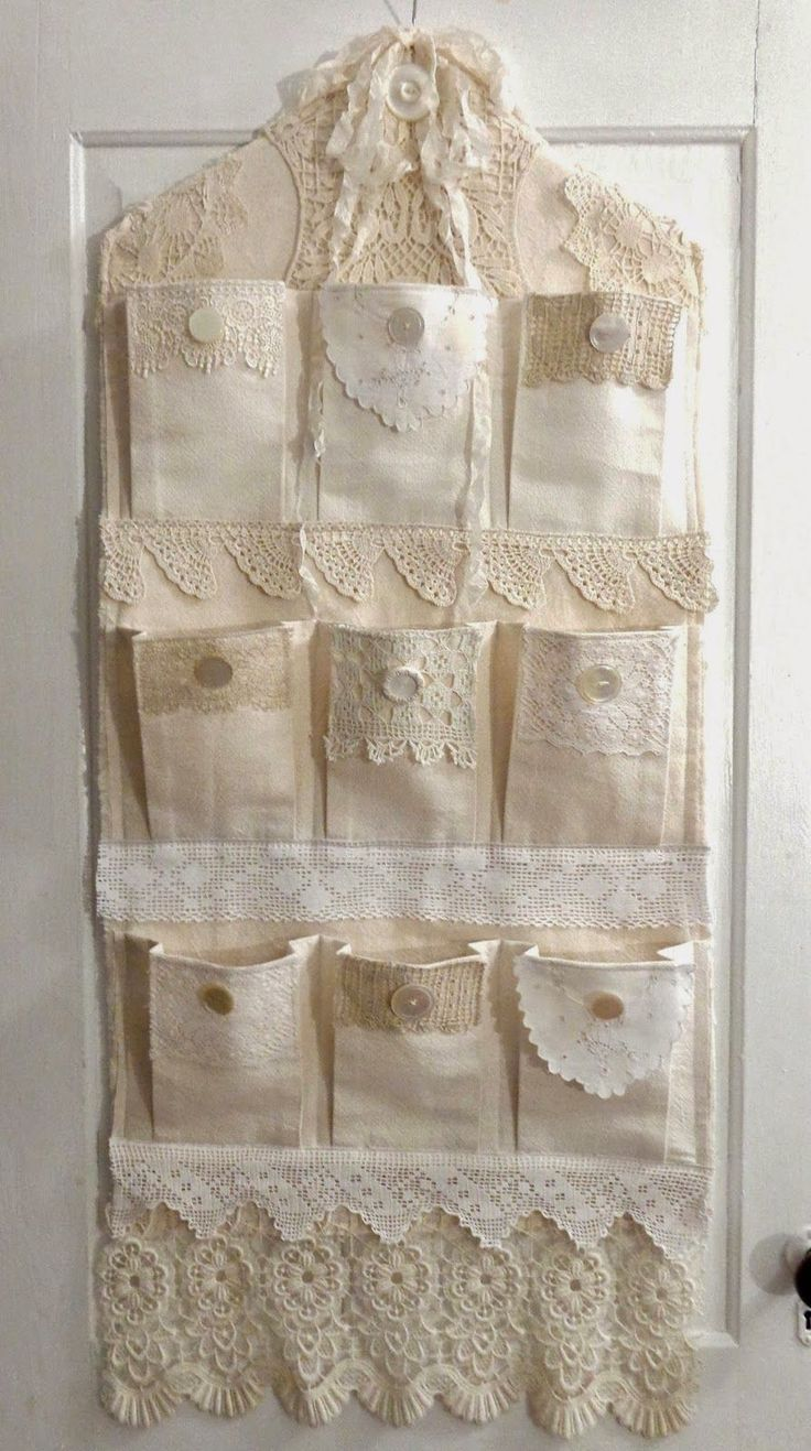 Sweet shabby chic idea for hanging organizer - need to make one like this for my craft tools! :) #shabbychiccrafts