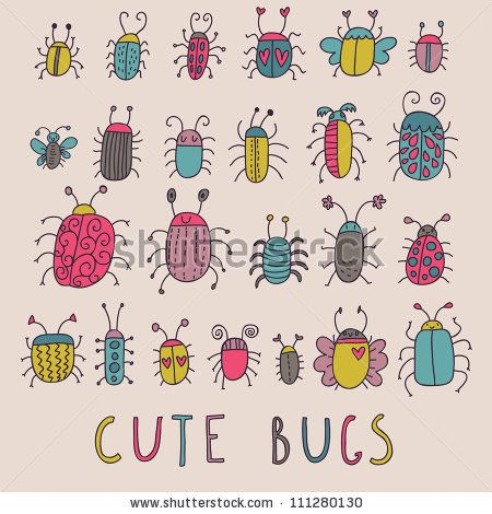 Cute bugs. Cartoon insects in vector set by smilewithjul, via Shutterstock