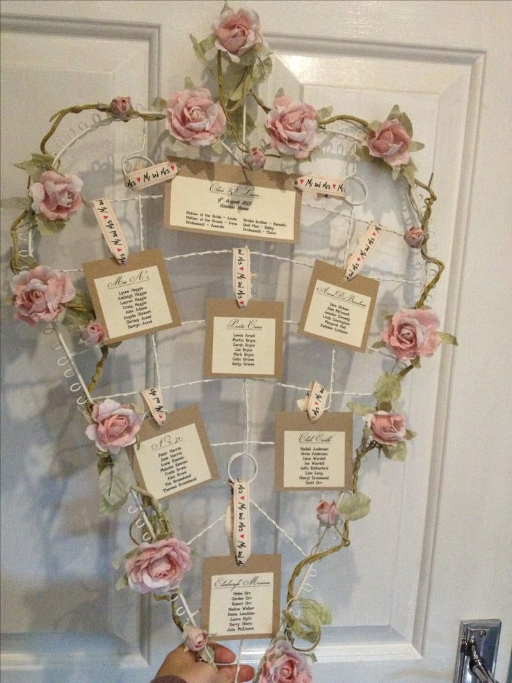 Love heart wedding table plan rustic vintage shabby chic flowers