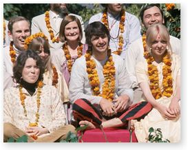 Prudence Farrow, at left, sat next to Ringo and the other Beatles with their wives for a group photo at Maharishi's ashram in India during a Transcendental Meditation course in 1968.