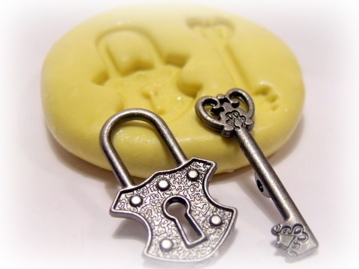 steampunk lock and key silicone push mold / craft/ dessert/ mini food / soap mold/ resin/jewelry and more..... $6.95, via Etsy.