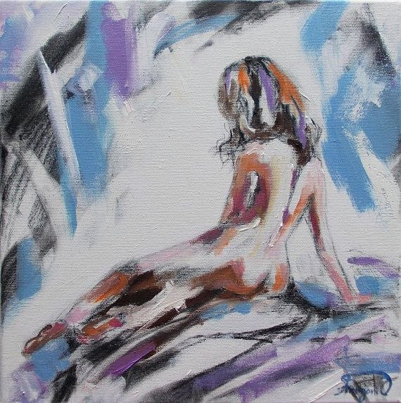 Original nude painting,nude oil and charcoal painting,woman back nude painting,woman painting,nude woman,naked woman, female,nude art