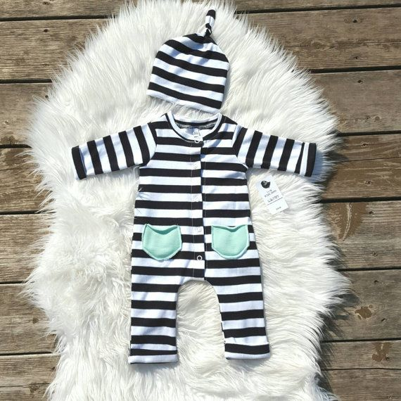 Black and white stripes baby romper.  https://www.etsy.com/listing/244336014/baby-romper-with-hat-set-take-home