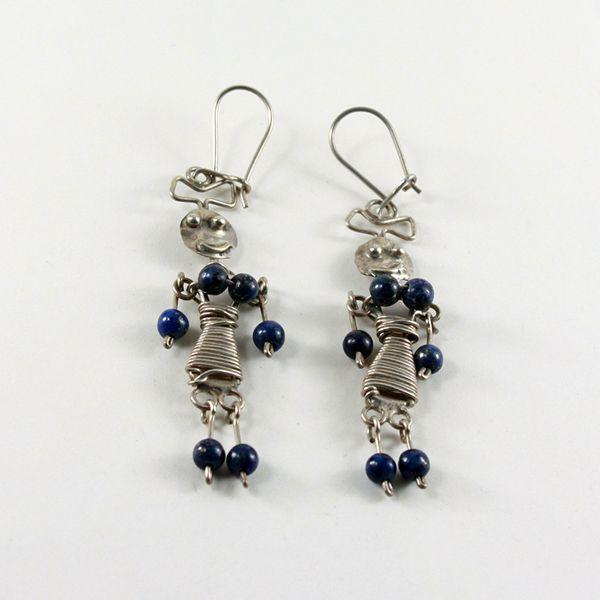 Seksi Kız Lapis Taşlı Gümüş Küpe (Sexy Girl Silver Earrings with Lapis Lazuli Stones)