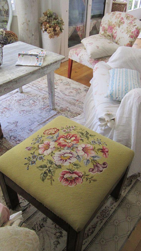Victorian needlepoint floral stool  shabby by whitecottageinhills