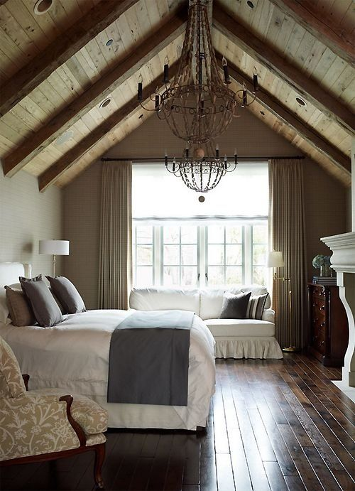 "Master bedroom above ""garage"" for our home plans. Great ceiling idea <3"