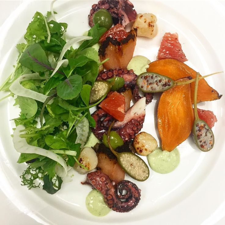 Fruit de mer salad! #newmenu #octopus #smoked #scallops #pastrami #salmon #truecooks #cook #chef #salad #cheflife #cheftalk #picoftheday #food #instafood #instagood #instahealth #restaurant #foodporn #dc #washington #argentina #argentinechef