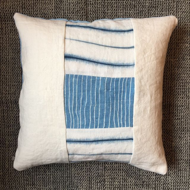 Kathryn Davey cushions have been added to our sale... there's only one of each! Up online or in the shop!  #shibori #scoutessexstreetwest #sale #kathryndavey #irishlinen #cushions