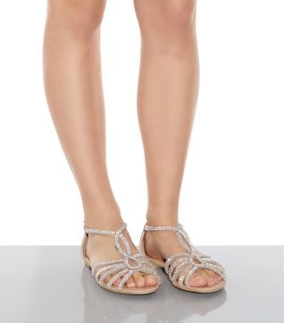 Stone Embellished Caged Sandals