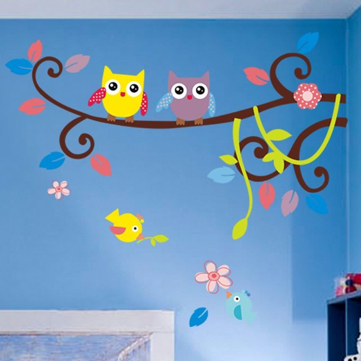 MZY LLC (TM) Colorful Owl Cartoon Animals Birds on Branch Nursery Wall Art Stickers Decal Home Decor Boys and Girls Children Courtyard Baby Kid's Room * Check this awesome image  : home diy improvement