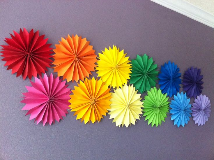 #Rainbow pinwheels decorate this party's walls.  #birthday #rainbowparty