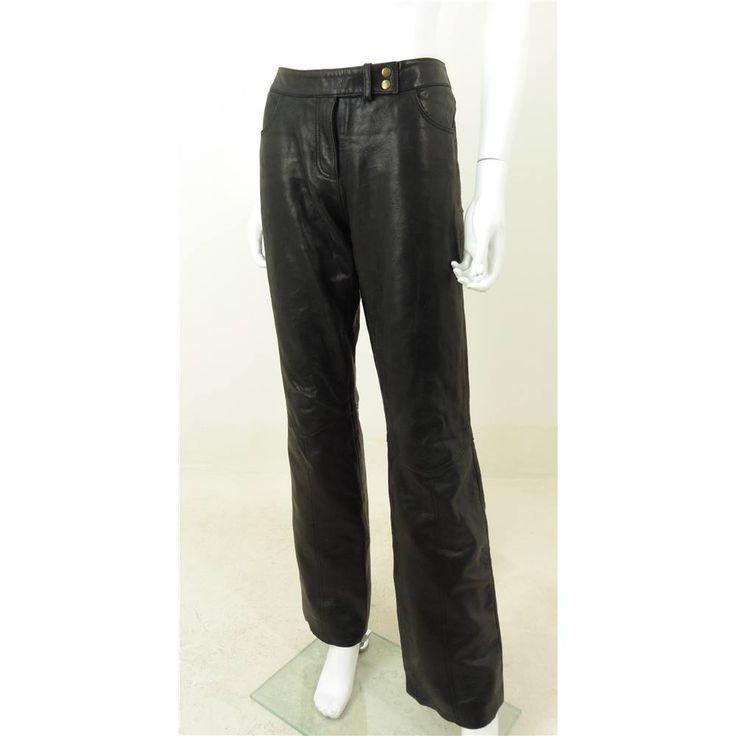 Vintage 1990s Harvey Nichols Size 12 Genuine Leather Trousers