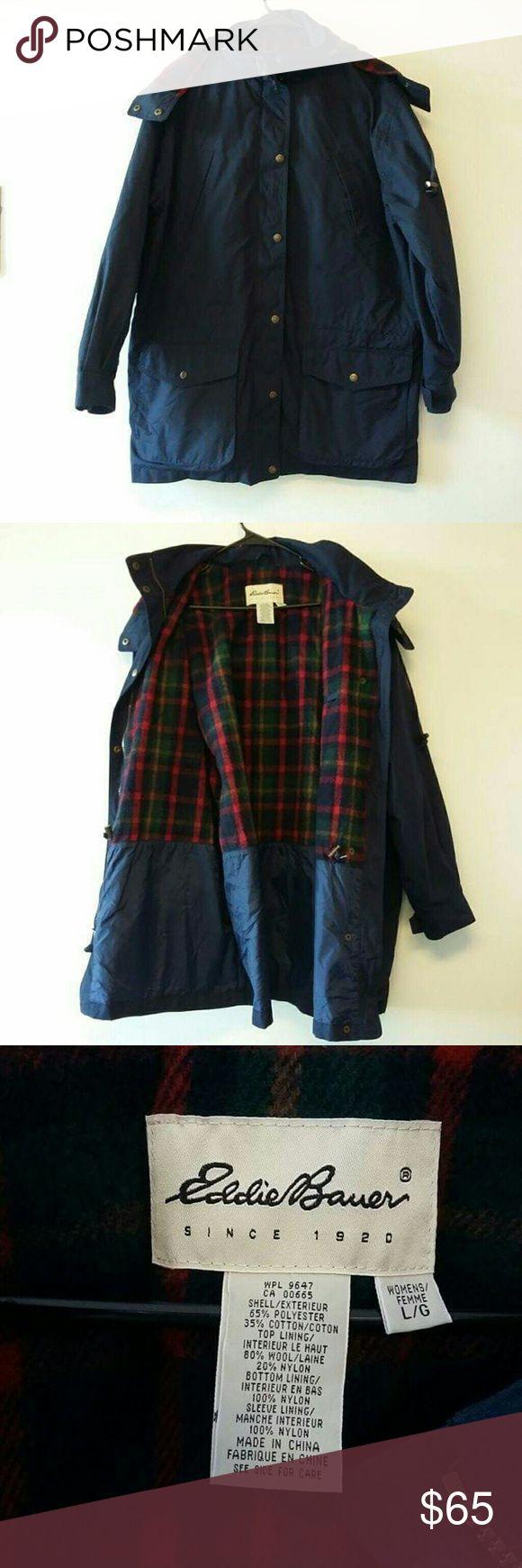 Eddie Bauer navy blue parka Shell: 65% polyester, 35% cotton, Top lining: 80% wool, 20% nylon, Bottom lining: 100% nylon. Eddie Bauer Jackets & Coats