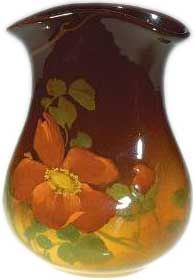 Standard Glaze 6 inch pocket vase decorated with red roses in 1901  ROOKWOOD