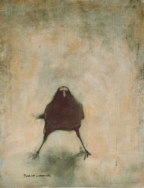 'Crow #6' (2008) by British Columbia-based English artist & printmaker David Ladmore. Oils. via the artist on flickr