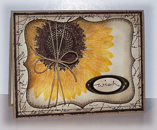 Sunflower Wish : use rubber stamps, mixed media with scrap book paper etc to make greeting cards?