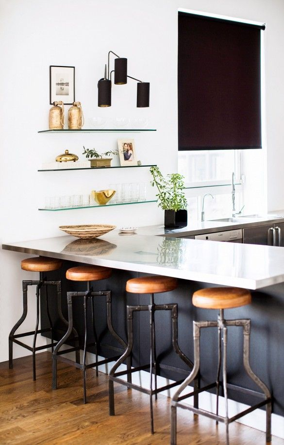 Industrial stools at a kitchen counter