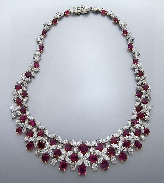 Oscar Heyman platinum, diamond and ruby necklace