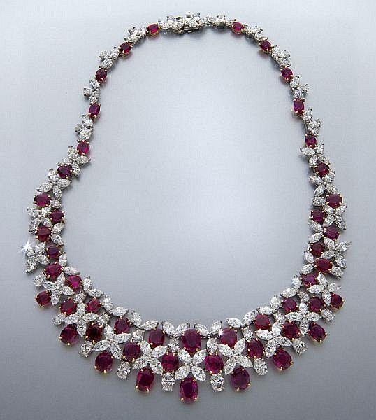 Oscar Heyman platinum, diamond and ruby necklace