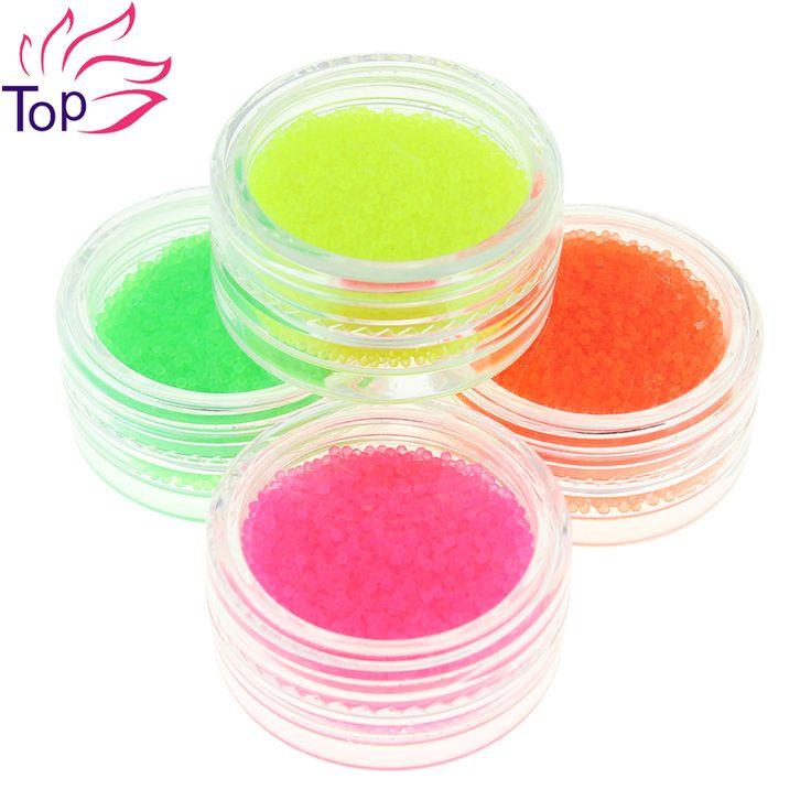 Fluoreszierende farbe Kaviar nageldekorationen kits charme perlen lieferungen für nägel 4 Botter/set 3d diy nail art schmuck stollen zp230