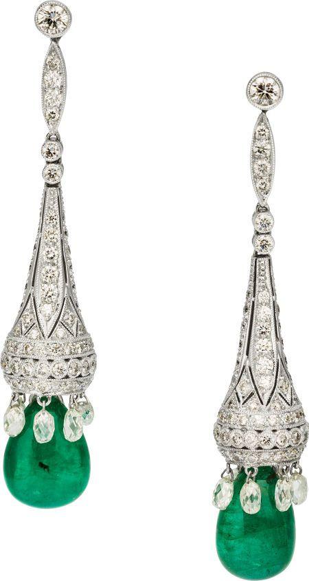 Full And Briolette-Cut Diamond And Teardrop-Shaped Emerald Earrings Set In 18k White Gold Earrings