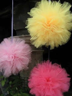 Pom Poms made out of tulle!