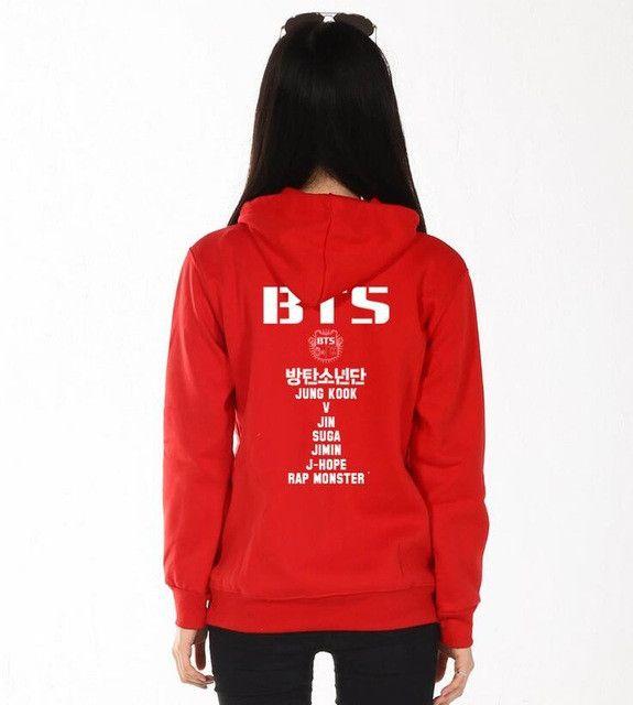 2017 Plus Size Women'S Clothing Hoodies Sweatshirts BTS Hoodie Cotton Black Red Grey Hoody Sweatshirts Women Hoodies