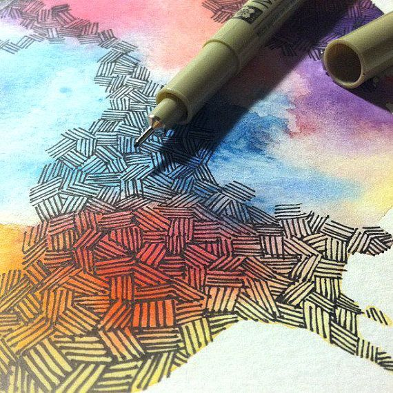 This would be such a cool idea for an alternative map for Cool watercolor tricks