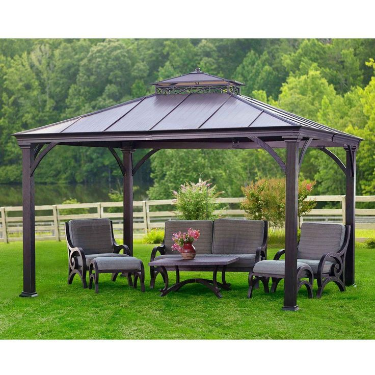 1499 aluminum gazebo 12x10 backyard livin pinterest for Pergola aluminum x