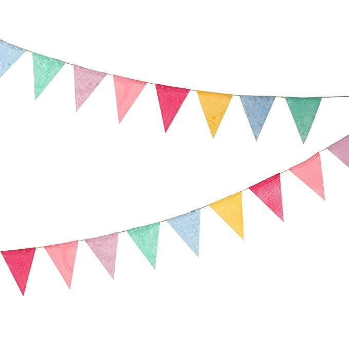 Amazon Com Hicarer 12 Multicolor Flags Imitated Burlap Bunting Banner Fabric Triangle Flag For Party Decorat Bunting Banner Burlap Bunting Rainbow Decorations