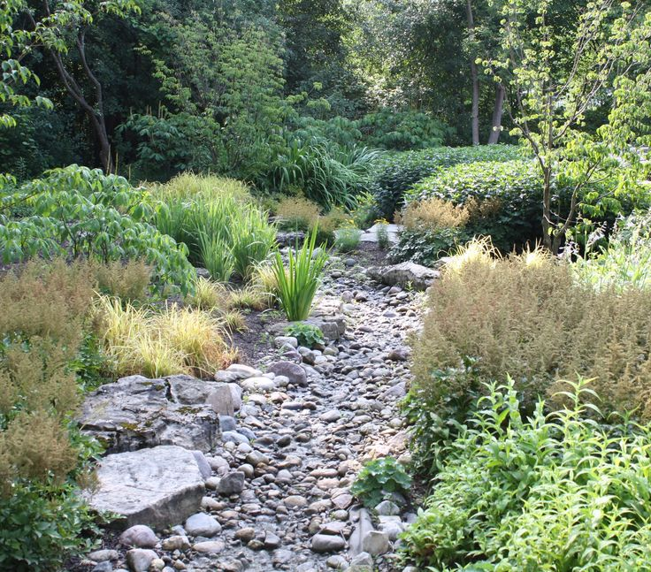 17 best images about dry stream beds on pinterest for Installing river rock landscaping