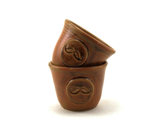 Awesome gift for guys: Mustache Cups  Two Brown Ceramic Tumblers by MiriHardyPottery, $30.00