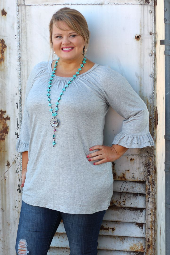 One Faith Boutique - Heather Gray Scoop Neck Ruffle Sleeve Top ~ Size 12-18, $29.00 (http://www.onefaithboutique.com/restocks/heather-gray-scoop-neck-ruffle-sleeve-top-size-12-18/)