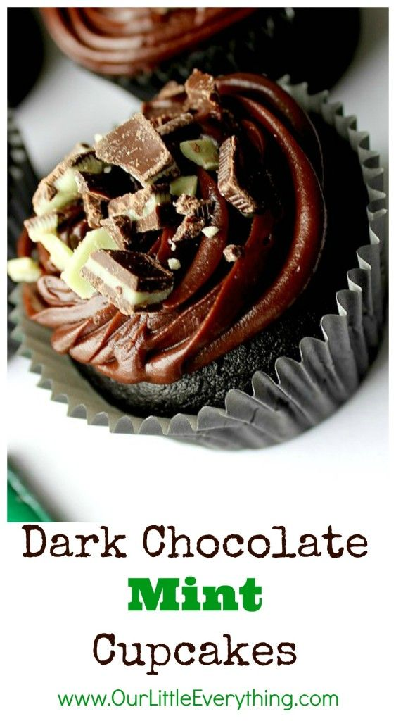 Dark Chocolate Mint Cupcakes with Chocolate Ganache Icing
