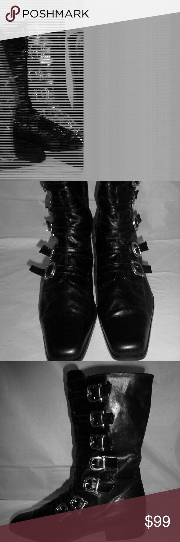 """Sacha London Black Leather Winklepickers The boots feature:  Side zipper - Silver tone hardware - Lightly padded inner sole  - Leather sole and upper   * * * Please notice: Sole width is only 3"""" = Narrow fit!! They will not and do not fit M/B size  Shaft height: 8 1/2"""" Heel height: 1"""" Sole width: 3""""  Thanks for looking! Sacha London Shoes Combat & Moto Boots"""