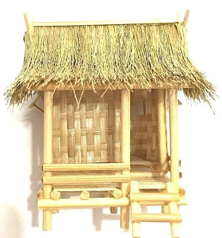 Vintage Thai House Bamboo Handmade Miniature For Doll  Model Kit & Garden Decor #Handmade
