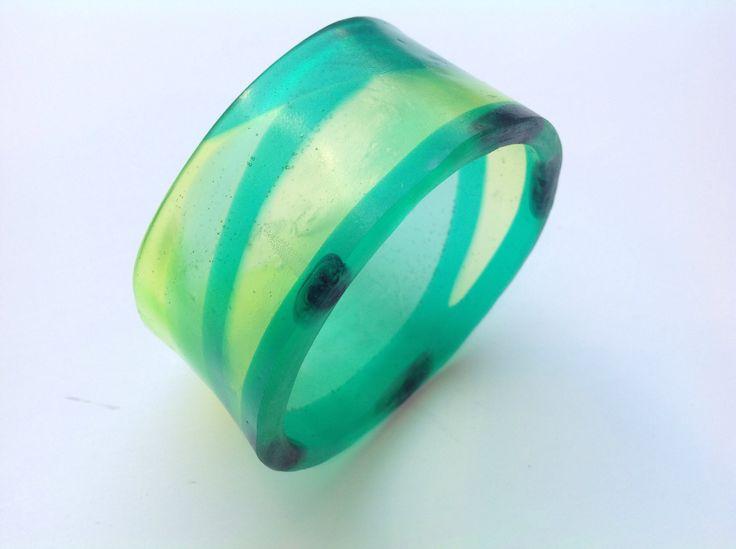 Green transparent resin bangle