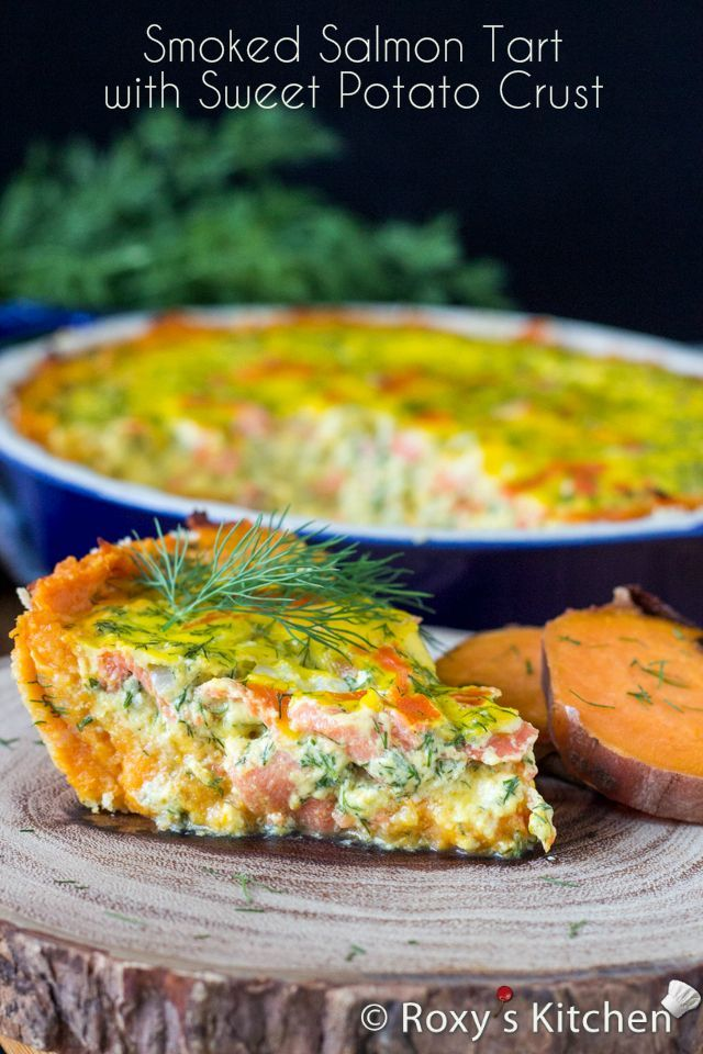 Smoked Salmon Tart with Sweet Potato Crust | Roxy's Kitchen-The crust is AMAZING also there's no parsley in this dish and don't precook the dill with the onions.