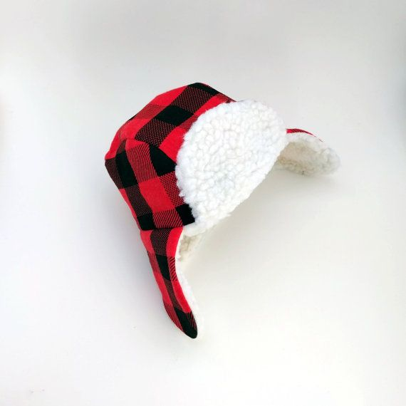Baby & Toddler Trapper Hat - Faux Fur Red Buffalo Plaid Trapper Hat - Fur Bomber Hat - Aviator Hat - Lumberjack Hat - First Birthday Gift
