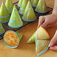 This is smart...Bake cake in snow cone cups for party hat cakes, princess castle birthday cakes, Christmas trees, etc... Genius!