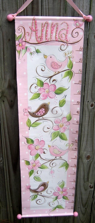 Girls Growth Chart Hand painted Birdies. $59.99, via Etsy.