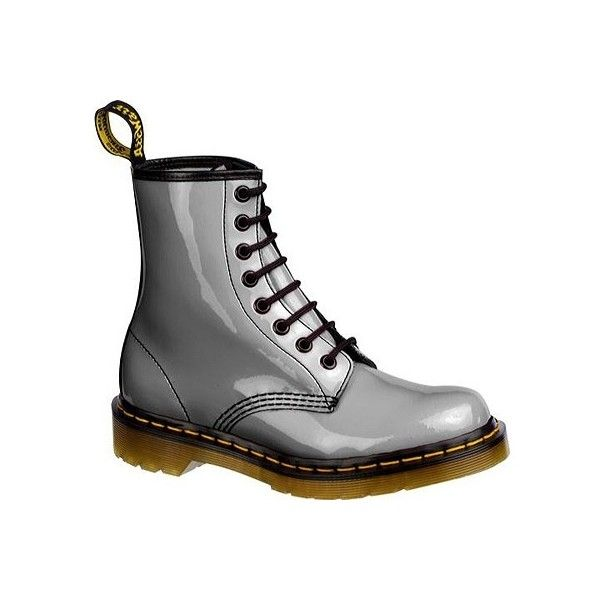 Dr. Martens 1460 8 Eye Boot Patent Lamper [Pastel Colors] ❤ liked on Polyvore featuring shoes, boots, doc marten, dr martens, zapatos, lace-up boots, black patent leather boots, laced boots, laced up boots and black patent boots