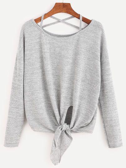 Heather Grey Drop Shoulder Criss Cross Tie Front T-Shirt -SheIn(Sheinside) Mobile Site