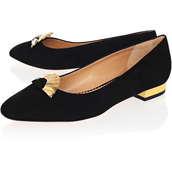 Charlotte Olympia Black Fantastical Gold Fan Suede Flats
