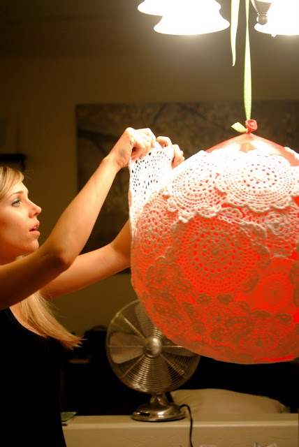 The Johnston's: {DIY Doily Lamp}